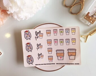 Coffee Planner Stickers • But First Coffee Stickers • Animal Stickers • Design Gardenia • Moonbe • Morning Stickers •  Artist Stickers