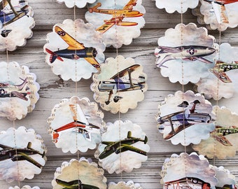 Airplane garland, Baby boy garland, Paper garland, Old backdrop, Pilot garland, Plane party, Party decorations, Baby shower, Guirlande