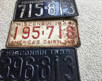 Lot of old WISCONSIN LICENSE PLATES
