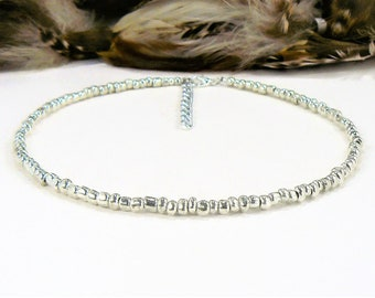 Beaded Choker, Seed Bead Choker, Choker Necklace, Seed Bead Necklace, Silver Choker Necklace, Silver Beaded Chokers, Silver Choker, Chokers