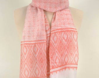 Indian Scarf, Summer Scarf, For her, Gift Scarf, Geometrical Scarf, Apricot Scarf, Coral Scarf, Salmon Scarf, Soft Scarf, Long Scarf, Large