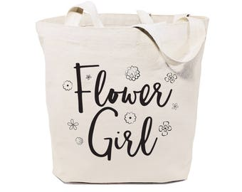 Cotton Canvas Flower Girl Wedding, Beach, Shopping and Travel Reusable Shoulder Tote and Handbag, Bridesmaid Gift, Bridal Party, Party Favor