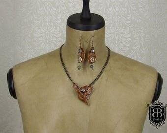 Jewelry set bone deer steampunk Brown silver