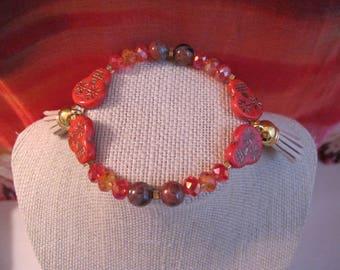 Czech Glass Sugar Skull Bead Bracelet with Agate, Crystals & Tassels