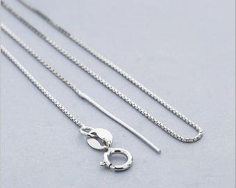 S925 sterling silver chain, box silver chain, plus needle, silver jewelry necklace.