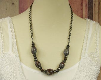 "Orbicular Jasper, Bronzite, and Pyrite 26"" Long Necklace - Gemstone Jewelry, Bohemian Necklace, Sundance Style Jewelry, Boho Statement"
