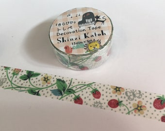 "Shiny Red ""Strawberry Garden"" with Silver Butterflies Glitter Washi Masking Tape by Shinzi Katoh"