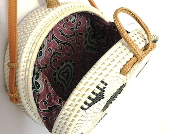 Round Straw bag, Straw bag, Woven bag, Basket bag, Bohemian Crossbody bag, Round straw purse, Boho bag, Gypsy bag, Round Straw Crossbody