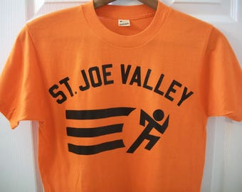 Vintage 80s St. Joe Valley T tee Shirt Small S Orange Running Cross Country Marathon High School College Screen Stars Soft 50/50 Indiana vtg