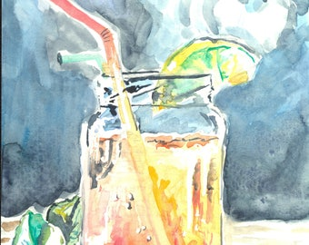 Summer Drink - 5x7 - Giclee Watercolor Print - Fine Art Print