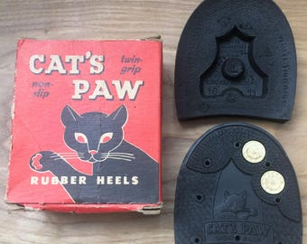 Cat's Paw Vintage rubber heels *Non-Slip Twin-Grip* Size 10-11 BOXED