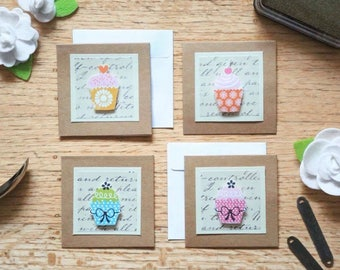 mini pop-up cupcake cards (blank) - Set of 3 assorted handmade cards