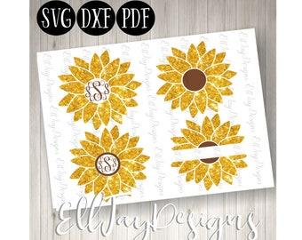 Flower monogram svg, sunflower svg, sunflower cut files, sunflower monogram, circle frame sunflower svg, circle frame, silhouette cut files