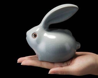 Ruyao Rabbit Shape Tea Pet Crackle Glaze Tea Pet, Rabbit Tea Pet, Kongfu Tea Pet, Rabbit Tea Set Accessory