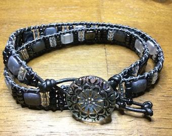 Grey and White Leather Wrap Bracelet
