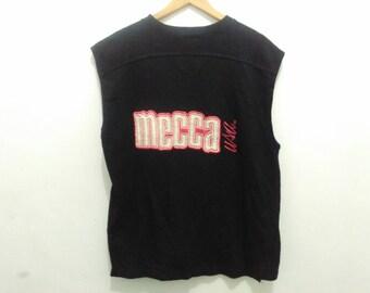 Vintage Mecca USA shirt men XL sleeveless black shirt spellout big logo embroidered streetwear hip hop