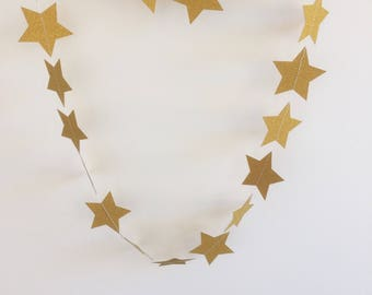 Gold Glitter Star Garland, Decoration, Parties, Christmas, Celebrations