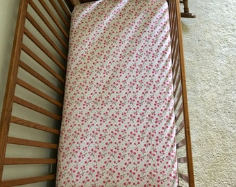 Fitted Crib Sheet, Jersey Knit Fitted Sheet, Crib Bedding, Crib Fitted Sheet, Floral Theme, Cherry Blossom Crib Sheet, Baby Branch Boutique