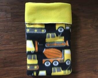 Construction Baby Blanket, Yellow Fleece, Nursery Bedding, Construction Theme, Baby Blanket, Bulldozers, Truck, Fleece, Baby Branch Boutique