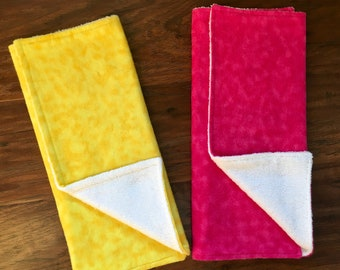 Baby Burp Cloths, Baby Shower Gift, Yellow Burp Cloth, Burp Cloth Set, Girl Burp Cloths, Pink Burp Cloth, New Mom Gift, Baby Branch Boutique