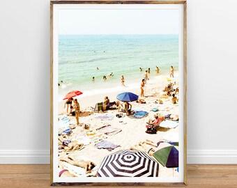 People on Beach Surf, Aerial Beach Photography Decor Beach Photo People Ocean Beach Surf Art Printable Poster Digital Print Digital Download