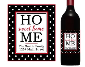 Home Sweet Home wine label, new house wine, housewarming wine label, custom wine labels, realtor gift, new home gift, realtor wine label