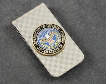 DOD Department of Defense Military Money Clip Chrome