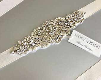 Bridal sash, Ivory Wedding Sash Belt, Wedding Sash, Bridal Sash Belt, White Wedding Belt, Crystal bridal sash belt, Rhinestone belt