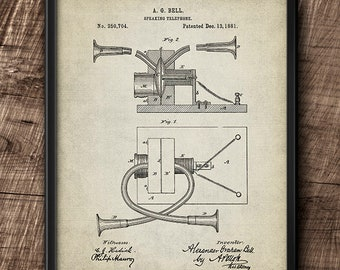 Alexander Graham Bell · Historic Patent · Speaking telephone · 1881 · Vintage · Printable · Instant Download #184