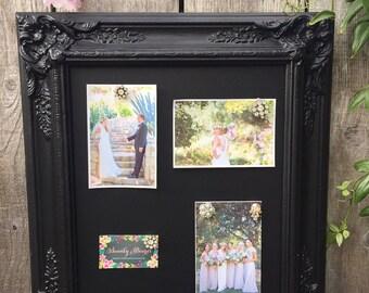 Vintage Black Framed Magnetic Chalkboard.. Wedding Chalkboard.. Chalkboard..