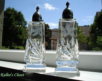 VINTAGE Set of ETCHED CUT Glass Salt & Pepper Shakers