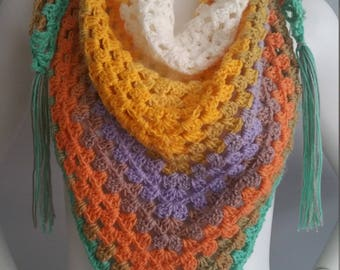 Crochet multicolor soft scarf shawl