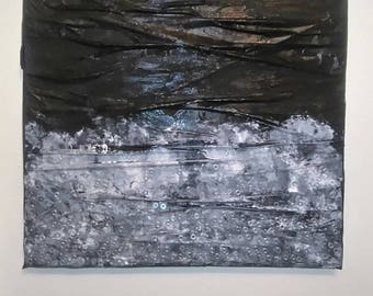"oil painting , artwork , ""α"" , collection μαύρο (black)  , oilpainted , metallic nuts , 60x60 ,2016"