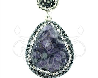 925 sterling silver amethyst pendant accented with swarovski crystals