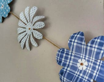 Paper Flower Bunting-Handmade Wedding Bunting-Paper Flowers-Wedding Decoration-Blue and White-Hanging Flower Decoration-Flower Garland