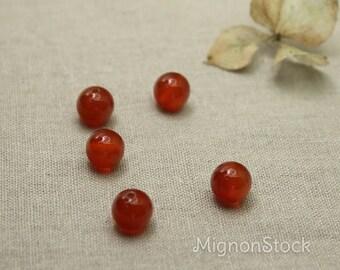 Carnelian - gemstones, red - mineral beads - 10 mm 5piece