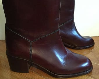 Cavalier boots from the 70s leather bordeaux/Made in Italy/EXECUTIVE/new/size 35.5 US 4.5 UK 2.5