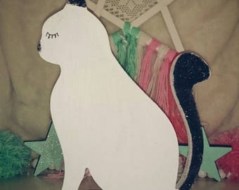 wooden standing or hanging in white and black cat glitter 25cm