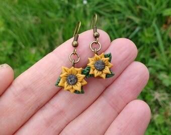 Sunflower earrings, polymer clay jewelry