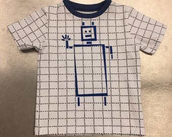 organic tshirt with robot printing for children