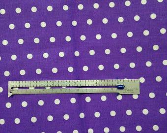 Fabric 1 Yard White Polka dots on Purple Cotton Sewing Crafts