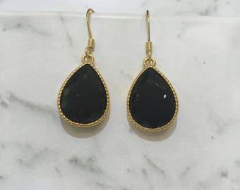 Dangle Teardrop Earrings Black