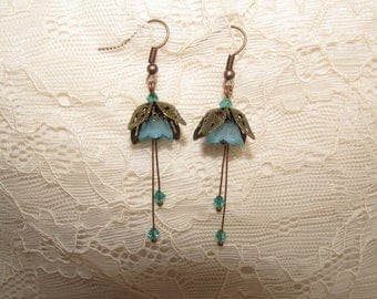 Snowdrop flower earrings blue and copper