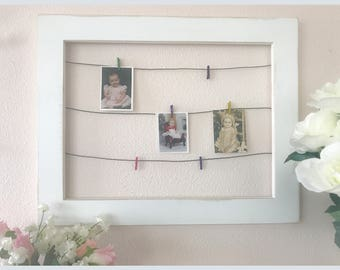 Framed Wire Photo Display with Mini Clothespins ~ display photos / kids  artwork / cards and