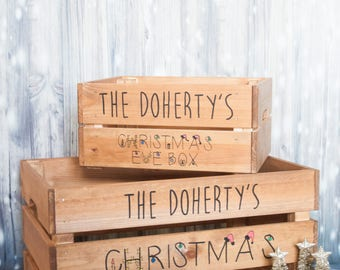 Christmas eve box, personalised christmas eve crate, xmas eve, personalised santa box, santa hamper, kids box, handpainted, wooden crate