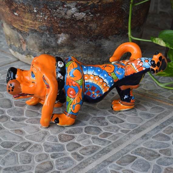 Talavera Ceramic Dog Hound Animal Home Kitchen Patio Garden