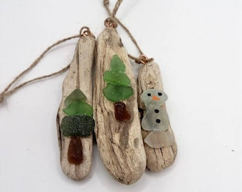 driftwood and sea glass decorations