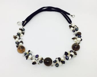 Necklace vintage smoky quartz, quartz, pearls black and white de Thaiti.