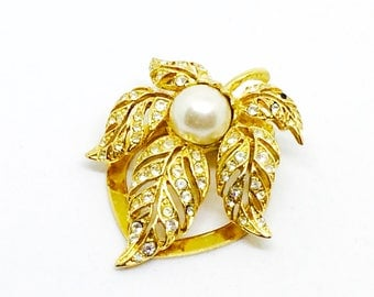 For scarf or 50 rhinestones and 1 Pearl dress clip brooch