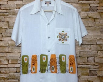 OFF 20% SALE RARE!!! Vintage Dry Bones hawaiian party button down rayon shirt 90s